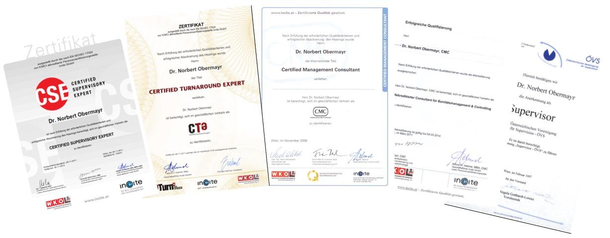 Zertifikate Dr. Norbert Obermayr